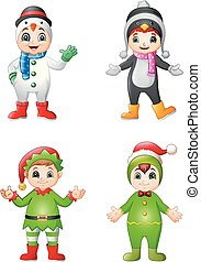 Cartoon kids wearing christmas costume