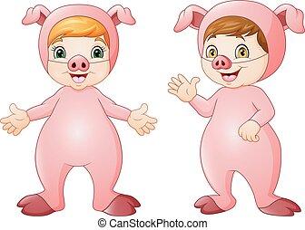 Cartoon kids wearing pigs costume