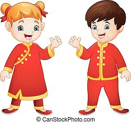 Cartoon Kids with Chinese traditional costume