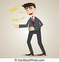 cartoon laughing businessman