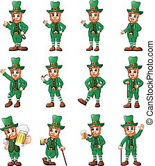 Cartoon leprechaun set in different poses