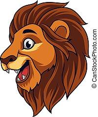 Cartoon lion head smiling