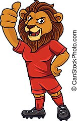 Cartoon lion soccer mascot showing thumb up