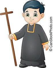 Cartoon little boy altar server in uniform holding a cross
