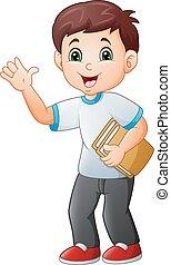 Cartoon little boy holding book