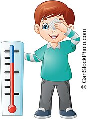 Cartoon little boy with a thermometer