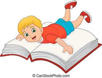 Cartoon little boy with big book