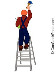 Cartoon man in hard hat on the ladder painting wall
