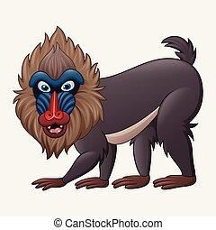 Cartoon mandrill baboon isolated on white background