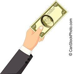 Cartoon money in the hand