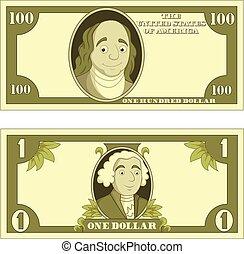 Cartoon money isolated on white background