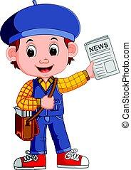 Cartoon Newspaper Boy yelling