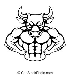 Cartoon of a tough muscular bull icon
