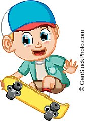 Cartoon of boy on a skateboard and smile