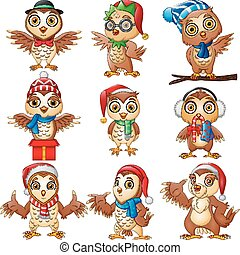 Cartoon owls collection set