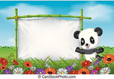 Cartoon panda standing on a bamboo frame
