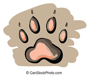 Illustration of cartoon paw print on brown background