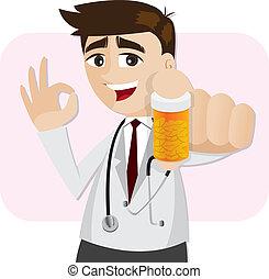 illustration of cartoon pharmacist showing medicine bottle