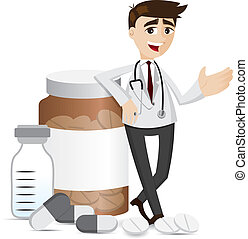 cartoon pharmacist with medicine pills and bottle - ...