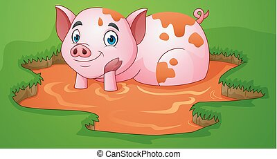 Cartoon pig playing a mud puddle in the farm