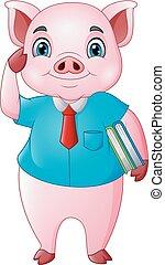 Cartoon pig teacher holding a books