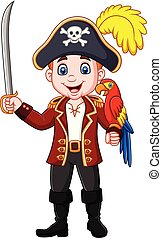 Cartoon pirate captain holding sword with macaw bird