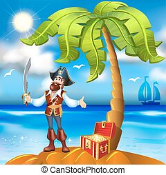 illustration of cartoon pirate island and treasure chest with gold trim
