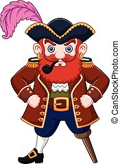 Cartoon Pirate with a smoking pipe