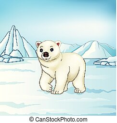 Cartoon polar bear on arctic tundra