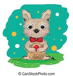 Illustration of cartoon rabbit holding easter basket with red egg . Clip-art, Illustration.