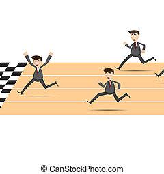 cartoon racing businessman