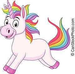 Cartoon rainbow unicorn horse