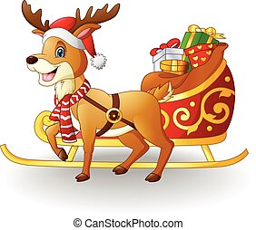 illustration of Cartoon reindeer with christmas sled sleigh and presents