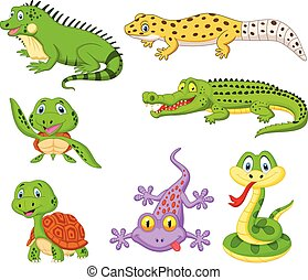 Cartoon reptiles and amphibians collection set