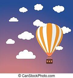 Cartoon Retro Air Balloon On Night Sky Background Vector Templat