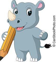 Cartoon rhino holding pencil