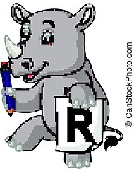 Cartoon rhino holding pencil
