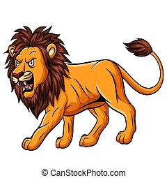 Cartoon roaring lion mascot on white background