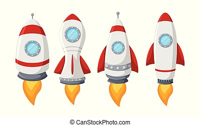 Cartoon rocket ship collection isolated on white background