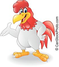 Cartoon rooster presenting