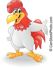 Cartoon rooster presenting - illustration of Cartoon rooster...