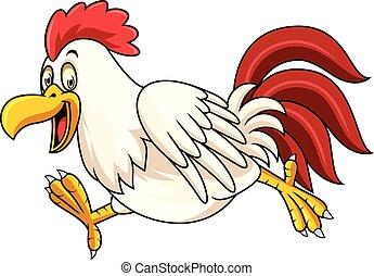 Cartoon rooster running