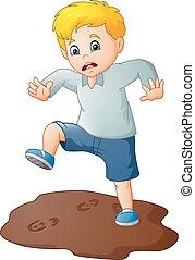 Cartoon sad boy with a mud puddle - illustration of Cartoon...