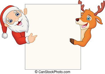 Cartoon Santa Claus and reindeer pointing at blank sign
