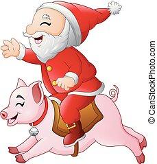 Cartoon Santa Claus rides on the smiling pig