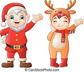 Cartoon santa claus with a girl wearing deer costumes