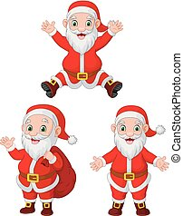 Cartoon Santa Clauses collection set