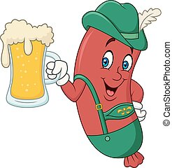 Cartoon sausage in traditional costume with beer