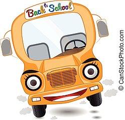 cartoon school bus character