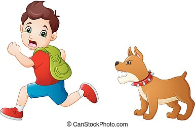 Cartoon schoolboy running away from angry dog